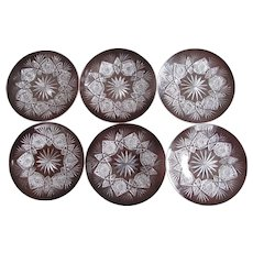 MATCHING  Hoare - Hawkes Cut Glass Plate / Dish c.1890's