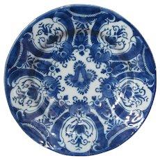 18th C. Delft Plate Bowl Lampetkan  L P Kan LPK