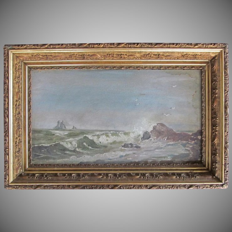Oil Painting Seascape Marine Schooner Ship Victorian 1860s Gesso