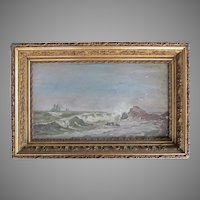 Oil Painting  Seascape Marine Schooner Ship VICTORIAN 1860's Gesso Wood Frame