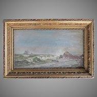 Oil Painting  Seascape Marine Schooner Ship VICTORIAN 1860's Gesso Wood Frame