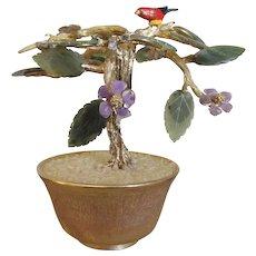 RARE Gold Plated SWOBODA Bird of Happiness 1950's  Jade Tree  Bonsai Tree Amethyst