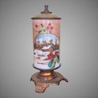 ORIGINAL PAPER LABEL Very Rare SR Bowie Co. Mt. Washington Pairpoint Whale Oil Lamp 1870's Hand Painted