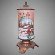 ORIGINAL PAPER LABEL Very Rare SR Bowie Co. Mt. Washington Pairpoint Whale Oil Lamp 1870's Hand Painted