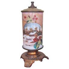ORIGINAL LABEL Very Rare SR Bowie Co. Mt. Washington Pairpoint Whale Oil Lamp 1870's Hand Painted