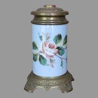1870's Boston Sandwich Whale Oil Lamp New Bedford Hand Painted Victorian Kerosene Lamp