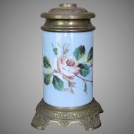 Boston Sandwich Glass  Oil Lamp 1870's Hand Painted Victorian