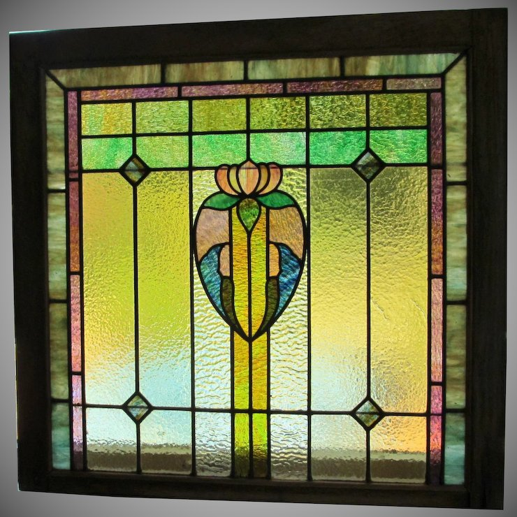 pair 2 stained glass window c 1910 oak frame leaded glass glass