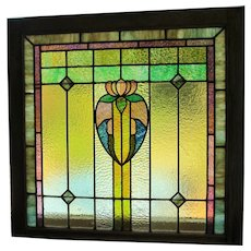PAIR (2) Stained Glass Window c. 1910  OAK Frame Leaded Glass