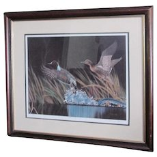 """D. Nicholson Miller Lithograph Signed Numbered Framed Waterfowl 27"""" x 30"""" SPLASH II"""