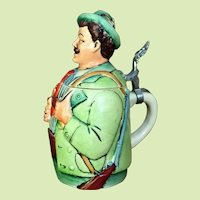 Eckhardt and Engler Beer Stein c.1930-40 HAND PAINTED West Germany Hunter
