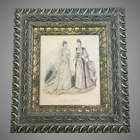 GORGEOUS Civil War Era 1860-70 Frame Wood Gesso Godey Print Lithograph