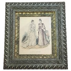 "GORGEOUS Civil War Era 1860-70 Frame Wood Gesso Gilt  Lithograph Godey Fashion Print 20"" x  18"""