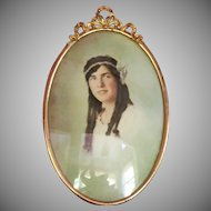 c.1918  Oval Metal Frame  Hand Tinted Photo  Convex Glass