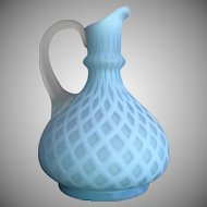 Mother of Pearl Satin Glass Ewer Pitcher Quilted Diamond 1890's
