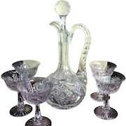 1880's Decanter w/ Five Glasses Cut Glass Crystal INCREDIBLE