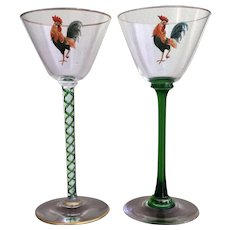 Dorflinger Honesdale ROOSTER Wine Cocktail  c.1900 TWO