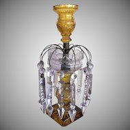 IRISH ANGLO Luster Lustre Candlestick 14 Prisms Cut Glass 1890-1910
