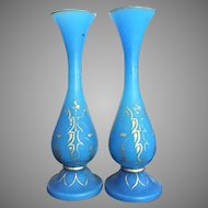 "11"" tall Baccarat Blue Opaline Gilt Vase 1850-1870 France"