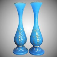 "11"" tall Baccarat Blue Opaline Gilt Vase 1850-1870"