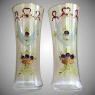 PAIR Bohemian Moser Vase BEAKER c.1880's