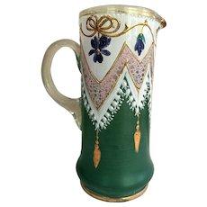 1880-1910 Moser Bohemian Ewer Pitcher  Creamer  Syrup Enameled Gold gilding