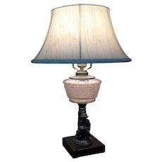 1880's Figural Table Lamp - Oil Lamp - Cast Metal  MAN and HIS DOG  Kerosene Lamp w/ Lamp Shade Electric
