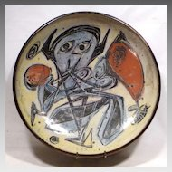 Mid-Century Abstract Spaceman Pottery Bowl Kastrup Denmark