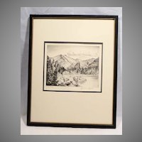 "LYMAN BYXBE Listed Colorado Artist 1950s Etching pencil signed ""Bear Lake"""