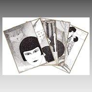 Super Art Deco 5 Postcard Set by E. Bornand
