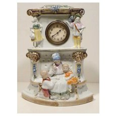 German Porcelain Puss In Boots Fairy Tale Clock