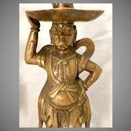 Antique Japanese Bronze Figural Candlesticks