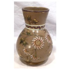 Sarreguemines French Aesthetic Movement Emaux Vase