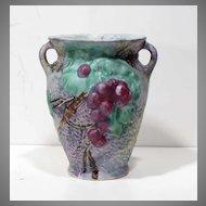 Unusual Weller Silvertone Vase Grape Pattern