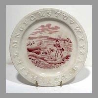 Staffordshire ABC Plate Hunting Quail
