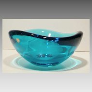 Mid Century Orrefors Large Heavy Blue Biomorphic Bowl