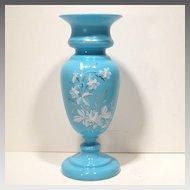 Large Antique Decorated Blue Bristol Glass Vase