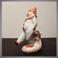 Bisque Sad Clown Match or Toothpick Holder c1890s