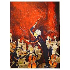 c1940 Mervin Jules Serigraph (The Conductor)