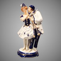 Hinode Moriyama Pierrot Couple Art Deco Porcelain Figurine
