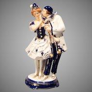 Hinode Moriyama Pierrot Couple Art Deco Porcelain Figurine