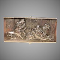 Unusual Dutch Solid Silver Double Stamp Box w Repousse' Scene