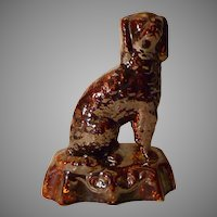 19th Century Rockingham Yellow Ware Pottery Spaniel Doorstop