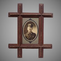 Tramp Art Photo Frame w/ Fireman's Photo