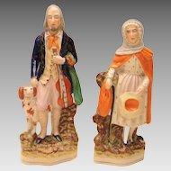 Blind Fiddler & Wife Staffordshire Figures