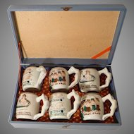 (6) Amusing Risque WWII Hand Painted Nude Handle Mugs Arita Japan