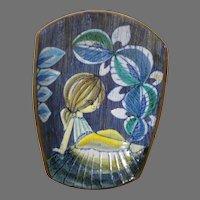 Mid-Century Tilgman's Keramik Sweden Bowl w/ Young Girl & Leaf Decoration