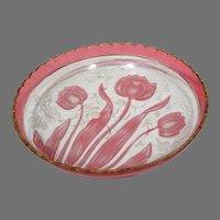 Lobmeyer Vienna 1880s Carved Glass Tulips Plate