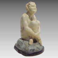 Joe Descamps Louis Lourioux Seated Faun French Pottery Figure