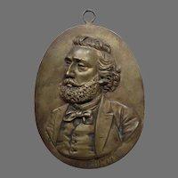 Antique Bronze Plaque French Statesman Leon Gambetta